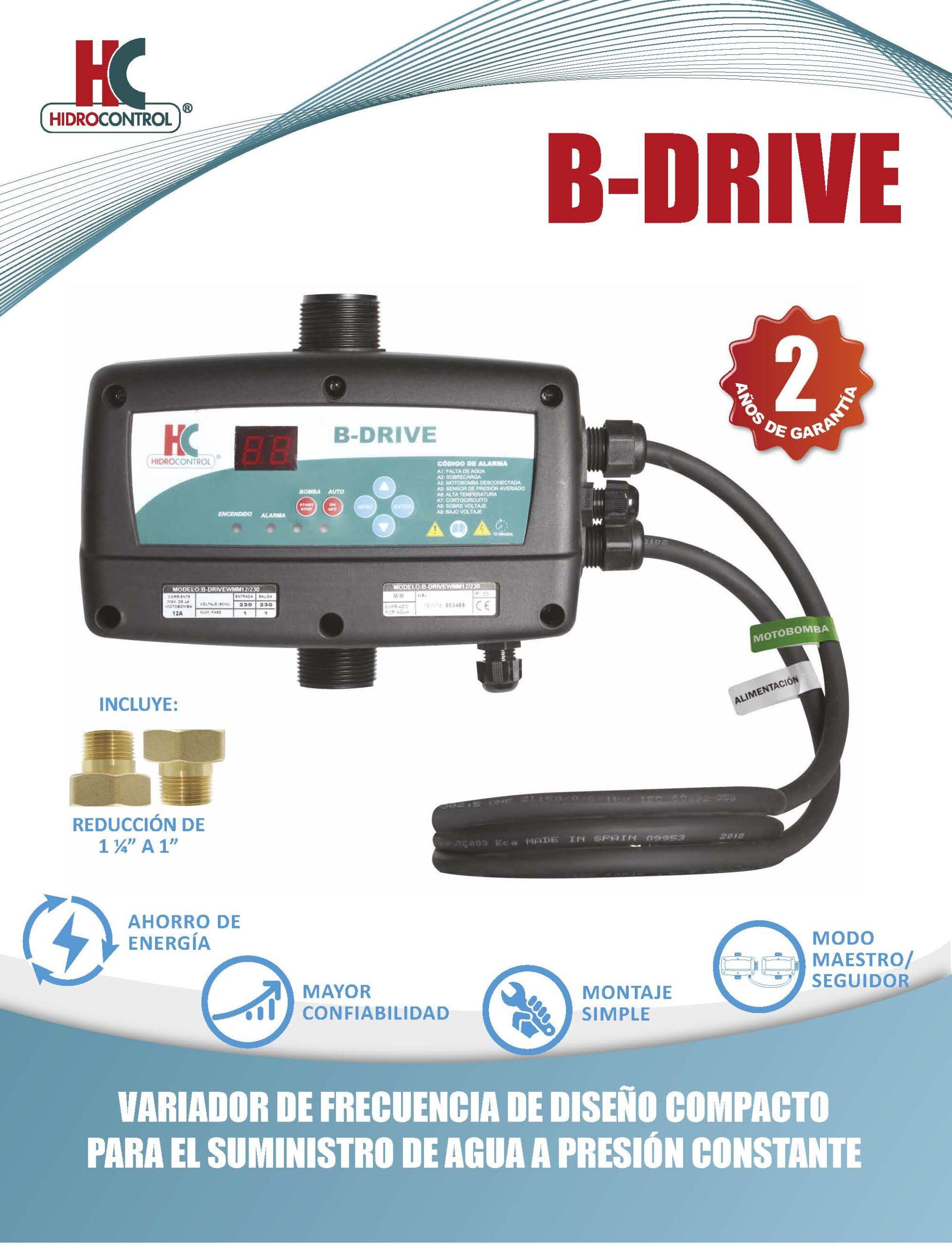 Variadores de velocidad, equipos de control, protección, tanques y accesorios